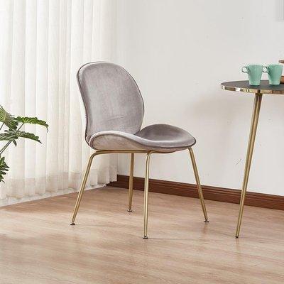北歐餐廳椅子網紅椅子絲絨布藝家用餐廳餐椅鐵藝梳妝甲殼蟲靠背椅