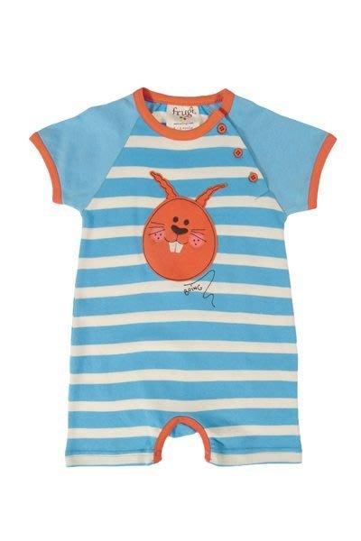 *Dou Dou House*英國歐洲進口frugi有機棉童裝/短袖海灘條紋連身衣-藍色-Size:6-12M(現貨)