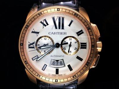【北林流當品】CARTIER 卡地亞 CALIBRE DE 18K玫瑰金計時碼錶 3577 42mm 卡地亞手錶