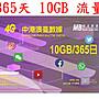 【杰元生活館】365日10GB流量中國大陸、香港、澳門、台灣上網卡大中華 GPS 追蹤器 車聯網適用