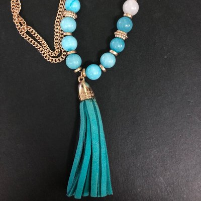 Necklace 波西米亞民族風 頸鍊 項鍊 頸繩 藍色珠仔 bohemian vintage long pendant tassels nickel free