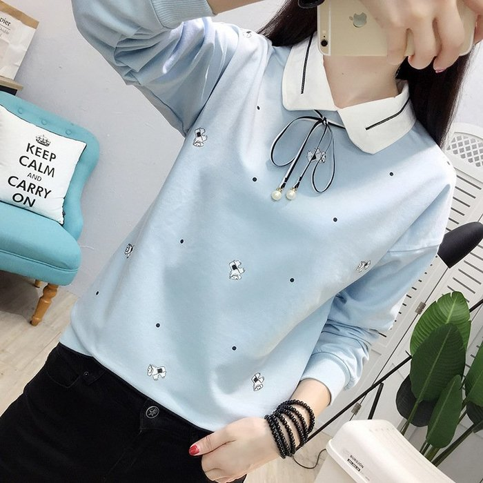 【1580】襯衫  韓版黑點小馬娃娃領長袖襯衫。☆*藍荳荳小舖*☆(現貨)