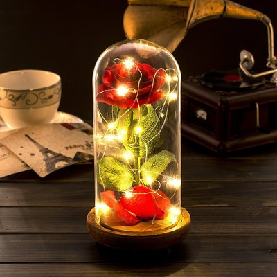 【丹】A_Beauty and the Beast Silk Rose LED Light 美女與野獸 玫瑰 小夜燈
