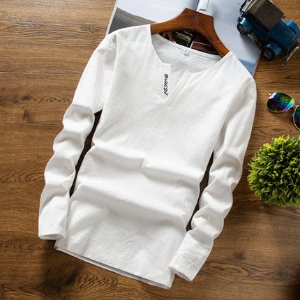 [C.M.平價精品館]M~7XL/品味有型英文字母小V領舒適棉麻長袖T恤  加大碼
