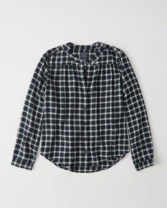 Maple麋鹿小舖 Abercrombie&Fitch * AF 深藍色無領設計格紋長袖襯衫 * ( 現貨S號 )