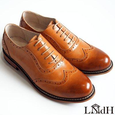 [零碼出清八折]翼紋雕花牛津鞋:手工上色小牛皮真皮木跟男鞋皮鞋-焦糖色-免運費-[LMdH直營線上商店]D1A32-89