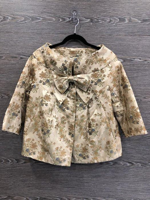 *金選名店*Shiatzy Chen 夏姿 卡其色花卉刺繡長袖外套 / 罩衫 38號
