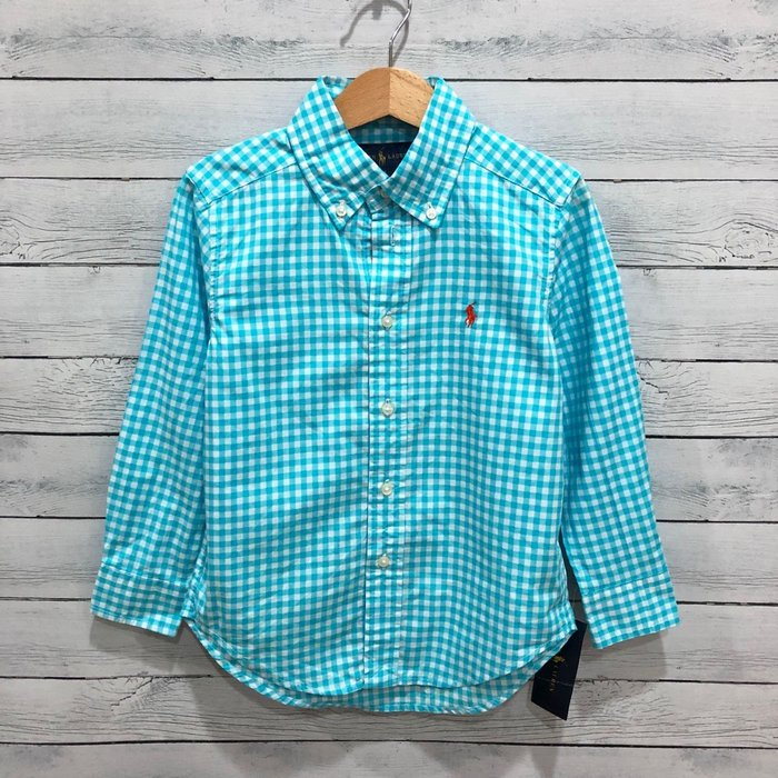 Maple麋鹿小舖 美國購買 童裝品牌POLO RALPH LAUREN 男童格紋長袖襯衫 * ( 現貨4號 )