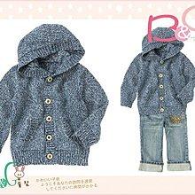 【B& G童裝】正品美國進口Crazy8 藍色毛料長袖連帽外套18-24mos