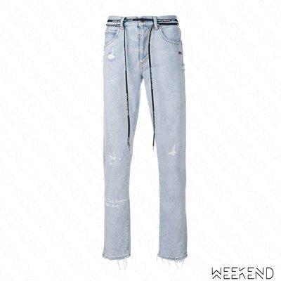 【WEEKEND】 OFF WHITE Do Not Remove 破壞 長褲 牛仔褲 藍色 18秋冬新款