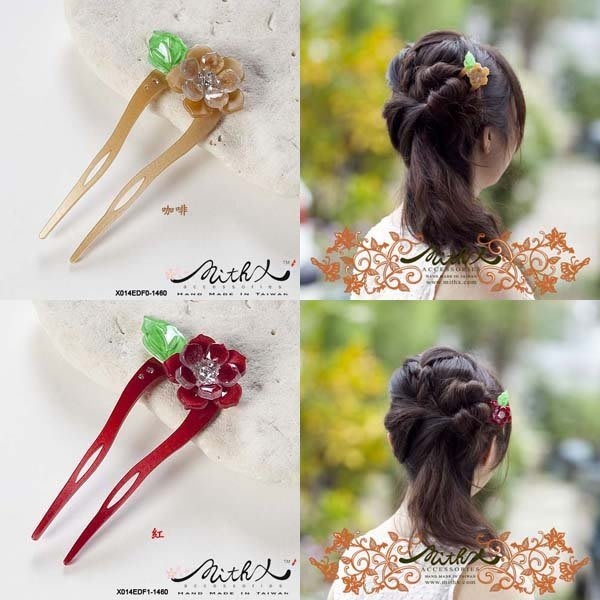 【MITHX】彩化花漾,U型髮簪,髮釵,髮插-十色