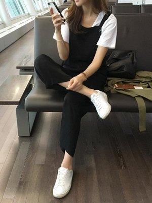 工裝連體褲子女小個子韓版寬鬆黑色休閒百...