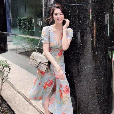 [ ohya梨花 ] =韓國帶回=最新春夏新款最新春夏甜美大器穿搭花花女人味顯瘦造型連身裙長洋裝