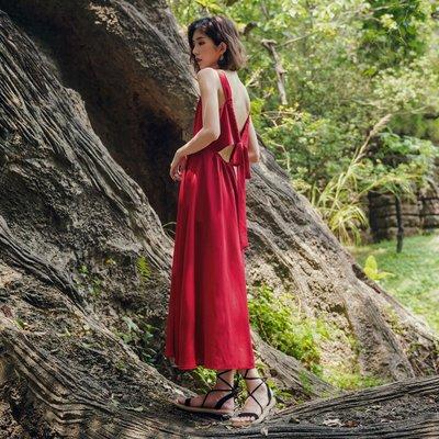 【Strawberry】度假沙灘裙女夏2018新款波西米亞長裙性感露背吊帶裙子紅色連衣裙