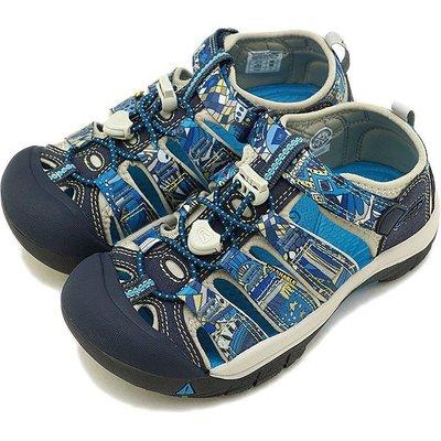=CodE= KEEN NEWPORT SANDALS 編織彈性綁繩護趾包頭涼鞋(藍圖騰)1018268 拖鞋 大童 女