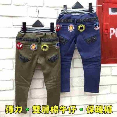【班比納精品童裝】微彈雙層加厚保暖褲英雄貼布棉牛仔/搖粒絨保暖褲-綠/藍【BB16111615】