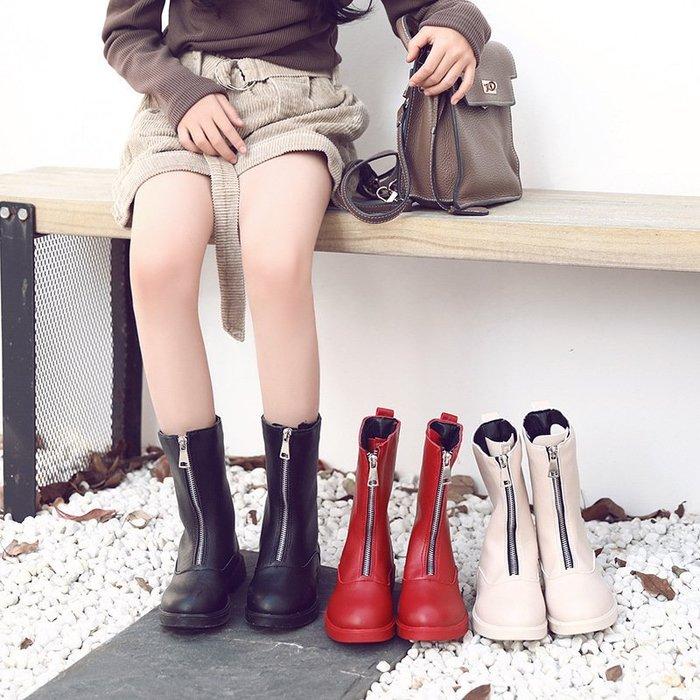兒童  靴子 新款 學生中筒靴二棉潮靴中大童鞋子