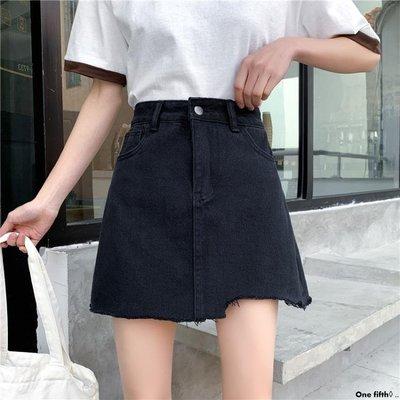 One fifth◊ .. [S-5XL]新品大碼高腰A字牛仔短裙女不規則學生包臀半身裙QC230