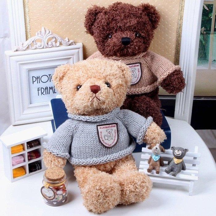 38CM 新款抖音玩具 錄音熊 說話小熊 告白小熊 毛絨玩具 復古毛衣熊 情侶禮品 交換禮物 情人節禮物 聖誕禮物