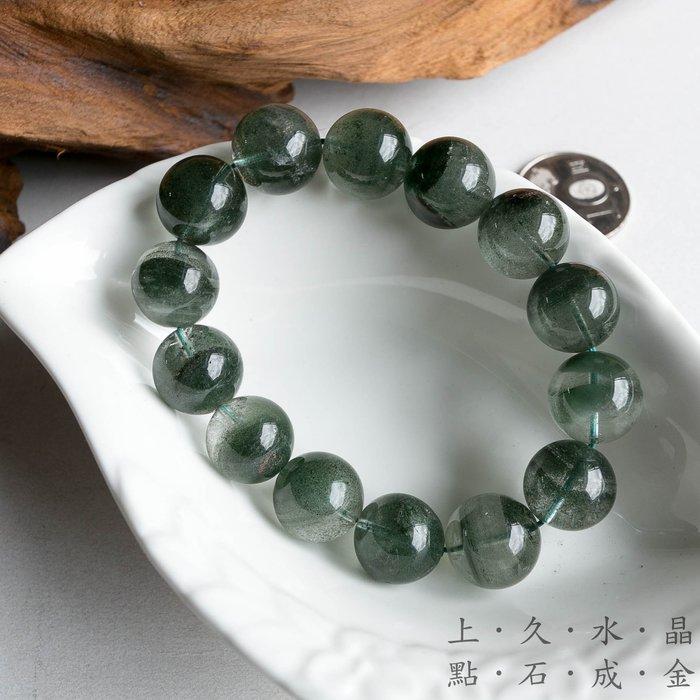 『上久水晶』_頂級滿綠幽靈手珠15mm,71公克