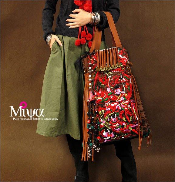 竹竹中國服飾---民族苗繡風格滿繡刺繡單肩配皮帆布包--慶收(特價品)