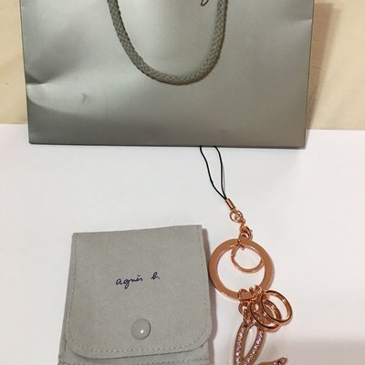 Agnes b玫瑰金包包手機吊飾