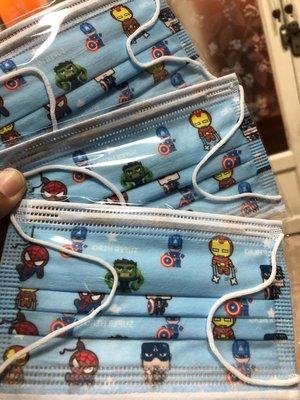 台灣現貨 特殊收藏兒童平面口罩 復仇者聯盟英雄8片裝 (內含8片 復仇者聯盟英雄)