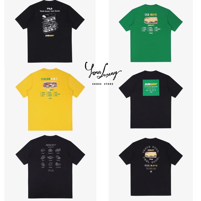 【Luxury】FILA X SUBWAY 聯名 短T 短袖上衣 男女款 多色 純棉 夏季 新款 限定 韓國代購