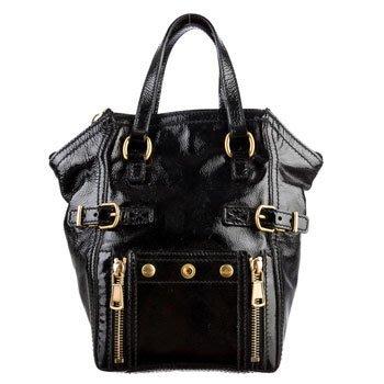 真品/正品 YSL Mini Downtown Hand bag 黑色漆皮亮皮手提包/小城市包
