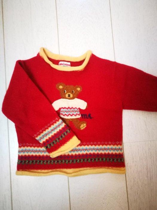 mikihouse 可愛小熊紅色羊毛毛衣 輕柔保暖