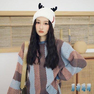 甜美可愛保暖帽子針織毛線帽女冬季鹿角加絨加厚冬天月子產后秋冬 GS385【男神港灣】