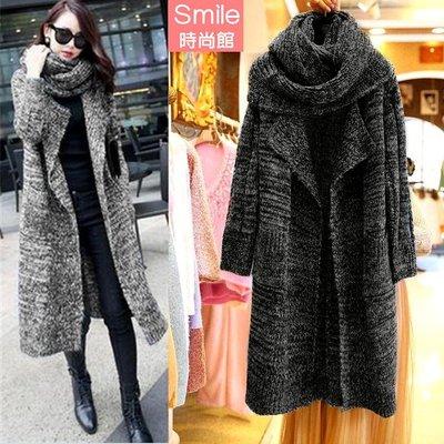 【V2762】SMILE-暖呼氛圍.圍巾造型針織長版大衣外套