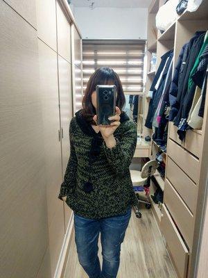 【全新正韓連線】綠黑色針織休閒超可愛球球連帽針織外套上衣外罩披肩zara IROO MOMA 現貨