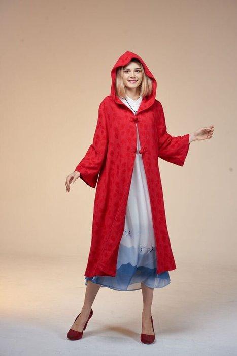 !中國藍Anewei小紅帽棉質大衣/風衣/外套-F-另有黑