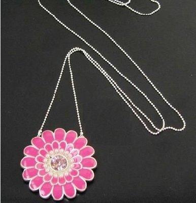 【飾界美~殺很大】歐美品牌 PILGRIM 高質感粉桃大花朵閃鑽造型項鍊~現貨下標即售