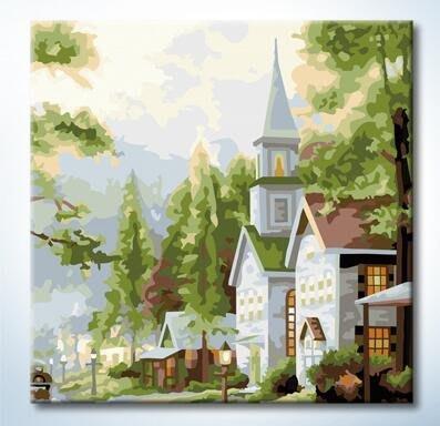 蒂爾傢居 館~DIY數字油畫 壁畫~裝飾無框畫 藝術畫 ~25x25~教堂~ 大 ~249