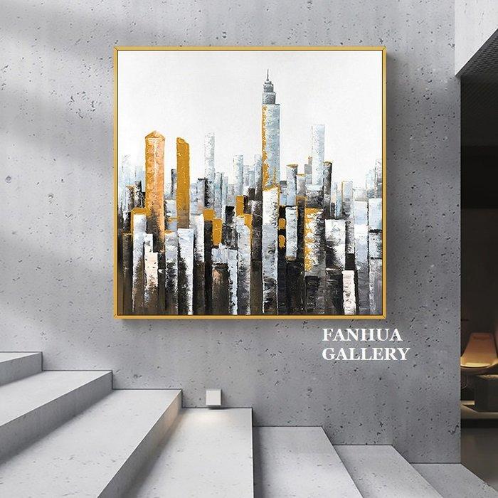C - R - A - Z - Y - T - O - W - N 純手繪油畫立體筆觸簡約金色城市印象抽象建築藝術裝飾畫玄關巨幅抽象油畫收藏畫方形藝術手繪油畫