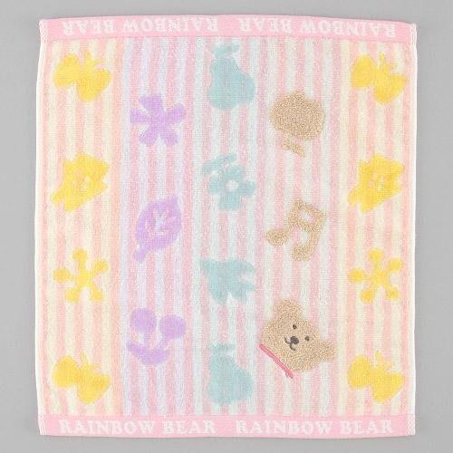 (現貨)Rainbow Bear日本彩虹熊 大方巾34x39(粉彩線條)粉紅~Jennifer的異想世界~