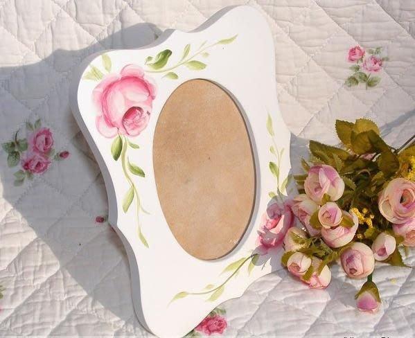 粉紅玫瑰精品屋~田園風格 相框 手繪粉色木質玫瑰花相框像框相架 ~現貨