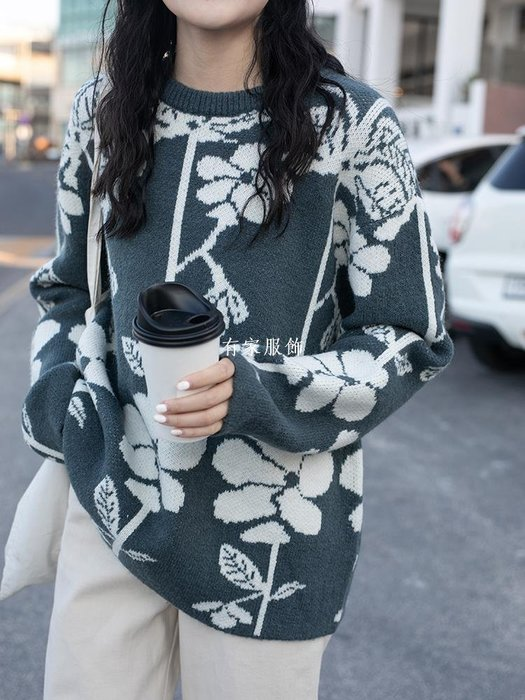 有家服飾寬松撞色花朵厚針織衫毛衣韓國女復古甜美秋冬chic