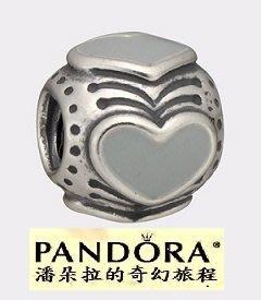 潘朵拉絕版品{{潘朵拉的奇幻旅程}} PANDORA Grey Enamel Heart Bead 790591EN26