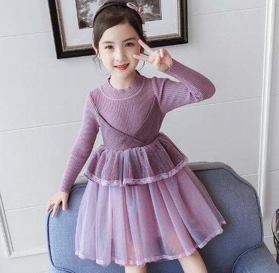 針織洋裝 女童連身裙 秋冬裝 洋氣毛衣裙 長袖針織公主裙 中大童5-12歲 莎芭
