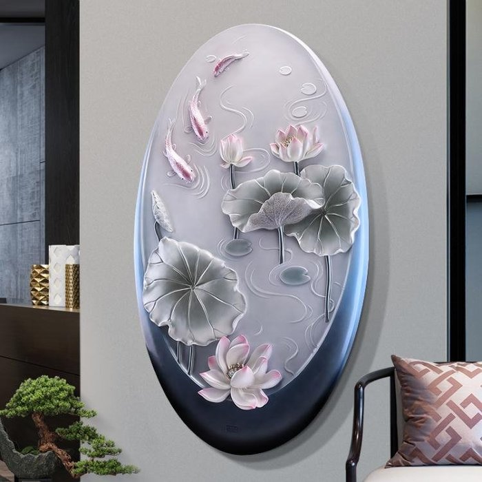 玄關裝飾畫現代簡約豎版3d立體浮雕招財過道壁畫進門走廊圓形掛畫