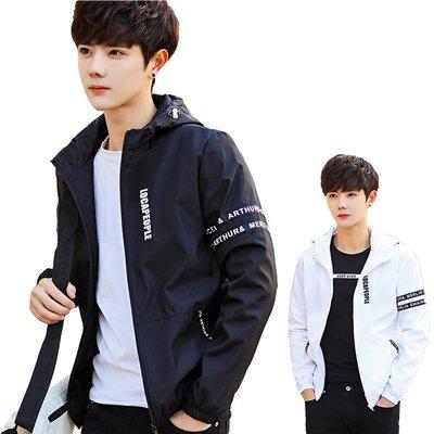 台灣現貨 潮流修身夾克 韓版潮流修身款 連帽風衣 韓版外套 男版夾克 薄款外套 風衣夾克 夾克外套 C45