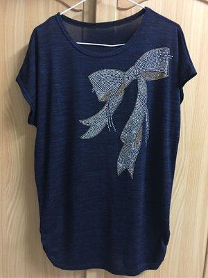 。☆二手☆。女款線衫針織衫//藍色蝴蝶結