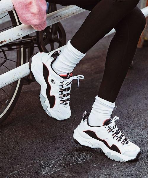 保證正品Skechers D Lites 3.0 白 黑 紅 代言人款 老爹鞋 女鞋 復古運動鞋 【PUMP306】