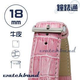 【鐘錶通】C1.31I《亮彩系列-手拉錶耳》鱷魚格紋-18mm 蜜桃粉┝手錶錶帶/皮帶/牛皮錶帶┥