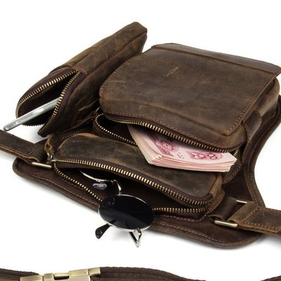 NYCT 韓國獨家限定高品質GD歐美熱賣頂級進口百搭時尚瘋馬皮手工真皮斜挎包復古頭層牛皮單肩包休閒相機包背包