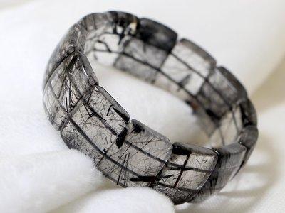黑碧璽髮晶手排/黑鈦晶 68克 22mm