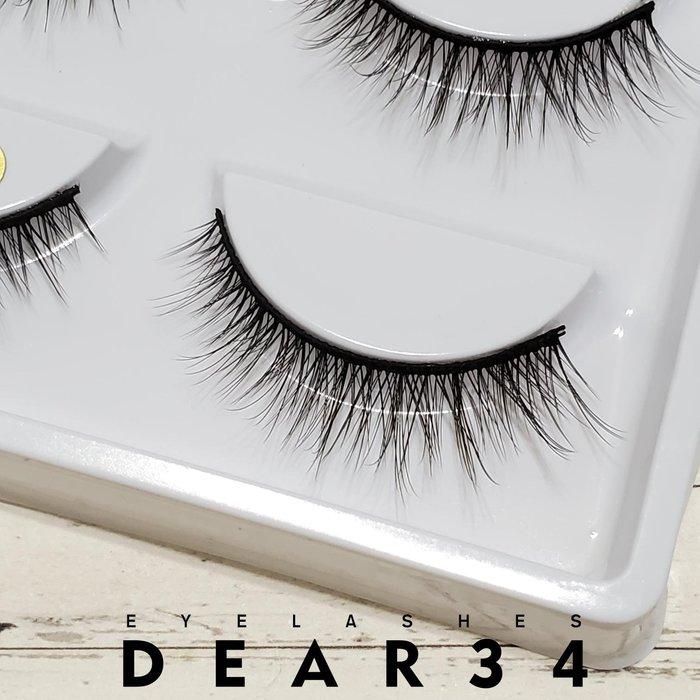 《Dear34》3D立體款水貂毛004黑梗眼尾加長交叉根根分明束狀假睫毛上睫毛一盒五對價